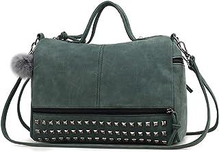 NCONCO Lady Studded Bolso con cierre de cremallera para mujer, bolso de hombro para trabajo, viajes, compras, color negro