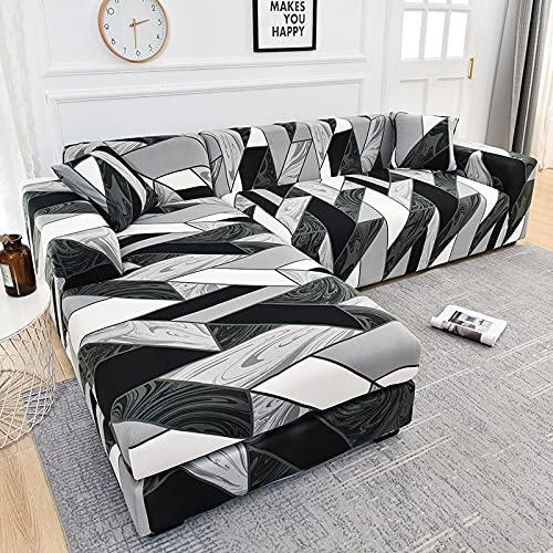 ASCV Plaid Bedruckte L-förmige Sofabezüge für Wohnzimmer Sofa Protector Anti-Staub Elastic Stretch Corner Sofabezug Schonbezug A21 2-Sitzer
