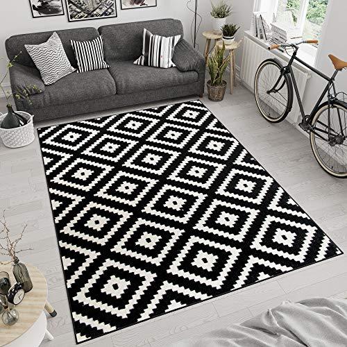 TAPISO MAROKO Teppich Modern Kurzflor Geometrisch Diamant Karo Marokkanisch Viereck Muster Schwarz Creme Wohnzimmer ÖKOTEX 80 x 150 cm
