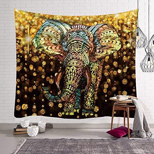 KHKJ Elefante psicodélico Hippie Tapiz Arte Colgante de Pared brujería tapices de Tela de Pared macramé Alfombra de Pared A4 95x73cm