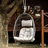 Egg Swing Chair Aluminum Frame Swing Chair Indoor Outdoor Hanging Egg Chair Patio Wicker Hanging Chair Hammock Chair with UV Resistant Cushion for Bedroom Camping Patio Backyard Balcony(Without Stand)