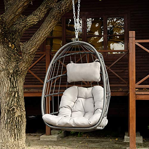 Openuye Indoor Outdoor Wicker Rattan Swing Chair Hammock Chair Hanging Chair with Aluminum Frame and Grey Cushion Without Stand 265LBS Capacity