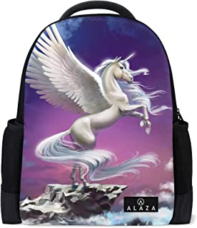 Mydaily Flying Unicorn with Clouds Backpack 14 Inch Laptop Daypack Bookbag for Travel College School