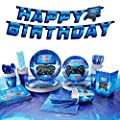 Decorlife Video Game Party Supplies Serves 24, Cute Gamer Birthday Decorations for Boys, Complete Pack Include Tablecloth, Popcorn Boxes, Blue, Total 200pcs from decorlife