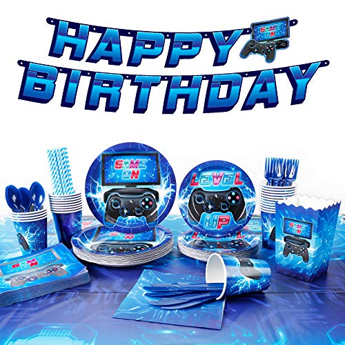 """Decorlife Video Game Supplies, Birthday Decorations for Boys, 200pcs Serves 24, 54"""" x 108"""" Gamer Table Cloth, Popcorn Containers, Pre-Strung Banner, Party Plates, Flatware, Cups, Straws, Napkins Included, for Video Game Birthday Party"""