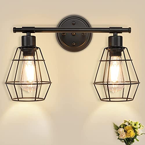 wholesale Depuley 2-Light Industrial Wall Vanity Light Fixture, Farmhouse Metal Wire Cage Bathroom Lighting Fixtures, Wall Mount Lamps for outlet sale Mirror Cabinets, Dressing Table, Living 2021 Room, Hallway, Black, E26 online sale
