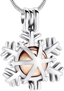 Minicremation Christmas Snowflake Cremation Jewelry Memorial Urn Necklaces for Ashes Love Memory Cremation Urn Pendant for Ashes