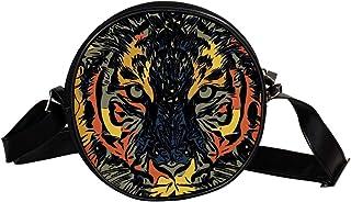Coosun Umhängetasche für Kinder und Damen, Motiv: Tiger Predator abstrakte Katze, rund, Schultertasche