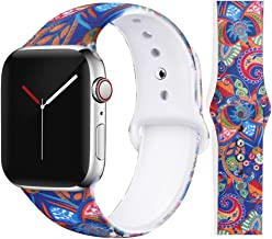 EXCHAR Compatible with Apple Watch Band 44mm 42mm Women Floral Replacement Bands for iWatch Series 4, Series 3, Durable Prints, Soft Comfortable Silicone S/M Y22