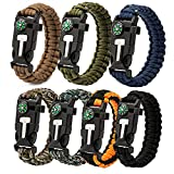Epartswide Multifunctional Outdoor Survival Paracord Bracelet with Flint Fire Starter,Compass,Emergency Whistle&Knife/Scraper Pack of 7