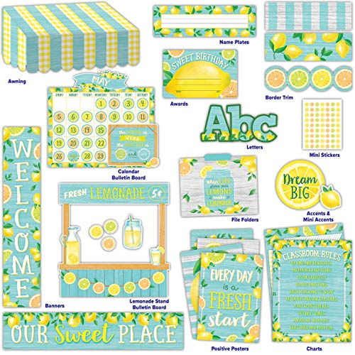 Lemon Zest Classroom Environment Décor All in One Collection Kit
