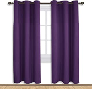 NICETOWN Blackout Draperies Curtains for Kids Room, Triple Weave Home Decoration Thermal Insulated Solid Ring Top Blackout Drapes Panels (Set of 2,42 x 72 Inch,Royal Purple)