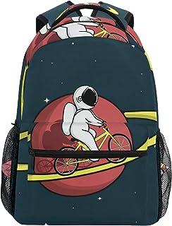 Bonita mochila de astronauta de paseo en bicicleta en el Saturno, informal, para estudiantes, escuela, viajes, senderismo, camping, portátil