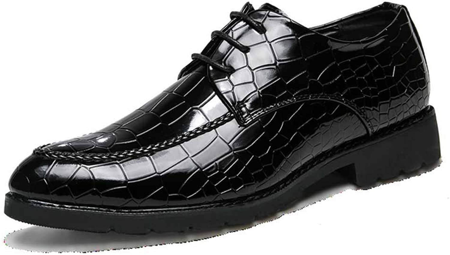 GLSHI Men British Casual Derby Fashion Pointed Leather shoes Trendy Business Leather shoes