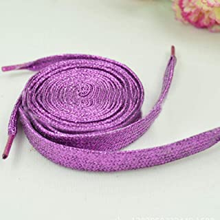 114cm Colorful Gold Silk Silver Flat Shoelaces Pearlescent Laces Wild Casual Shoes Glitter Shiny Gold Shoe Lace Shoes Strings