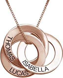 Personalized Russian Ring Engraved Name Necklace - Personalized 3 Circles Disc Christmas Jewelry Gift
