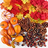 FEPITO Decoraciones Otoño Thanksgiving Day, Mini Calabazas Artificiales, Conos Pino, Hojas Otoño, Bellotas para Decoraciones Fiesta Otoño Thanksgiving Suministros (96pcs)