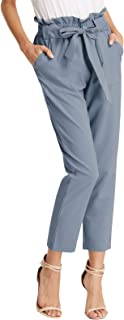 GRACE KARIN Women Bow Tie High Waist Pencil Cropped Pant Slim Fit Casual Trouser