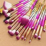 20pcs Diamond Makeup Brush Set Eye Brush Beauty Tools Fan Powder Eyeshadow Contour Beauty Cosmetic Colorido para herramienta de maquillaje, Barbie Pink Set