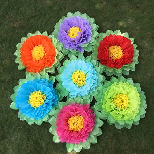 SD SPARKLING DREAM Paper Flowers Paper Pom Poms for Party Decorations Birthday Celebration Wedding and Outdoor Decoration - Set of 7 pcs (Rainbow)
