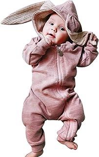HUBA Baby-Overall mit langen Ärmeln und einfarbigem Reißverschluss und Hasenohren, Neugeborenes Junge Mädchen Strampler Jumpsuit, Säugling Nachtwäsche 0M-18M