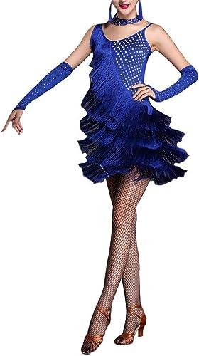 Robe de danse femme Femmes Sans Manches Gland Robe De Danse Latine Outfit Strass Frange Flapper Robe Sway Danse Robe De Cocktail Lady Perforhommece Vêtements De Danse Costume Robe de danse