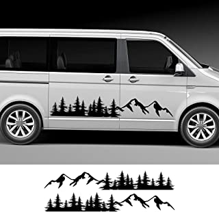 ZYHZJC 2Pcs Car Tree Mountain Decal Forest Car Side Door Stickers para Volkswagen Multivan Transporter T5 T6,para Toyota Elfa