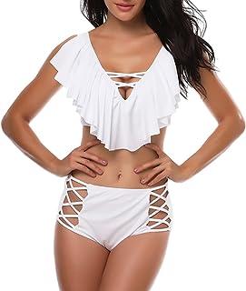 Mujer Color sólido Bañadores De Dos Piezas Bikini Cuello Profundo V Traje De Baño del Traje de baño de Vendaje de Cintura ...