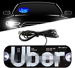 Sidaqi LED USB Sign Light Blue Glowing Decal with Suction Cups on Car Window Windshield Cab Interior Indicator Lamp for Driver