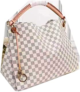 LARGE SIZE Top Handle Canvas Creamy Grey Checkered HandBag Made of durable Material with Leather Strap by JAN RYGLEWICZ
