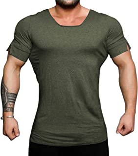 Men's Workout Shirts Short Sleeve Muscle Tee Training Bodybuilding Fitness Cotton Gym T Shirt
