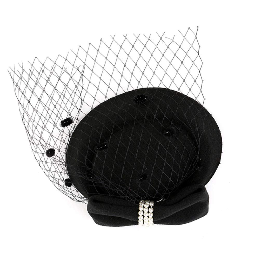 Beaupretty Fascinators Hat Tea Party Headwear Mesh Veil Bridal Headgear Wedding Photography Hair Accessories Mother Day Gift Black