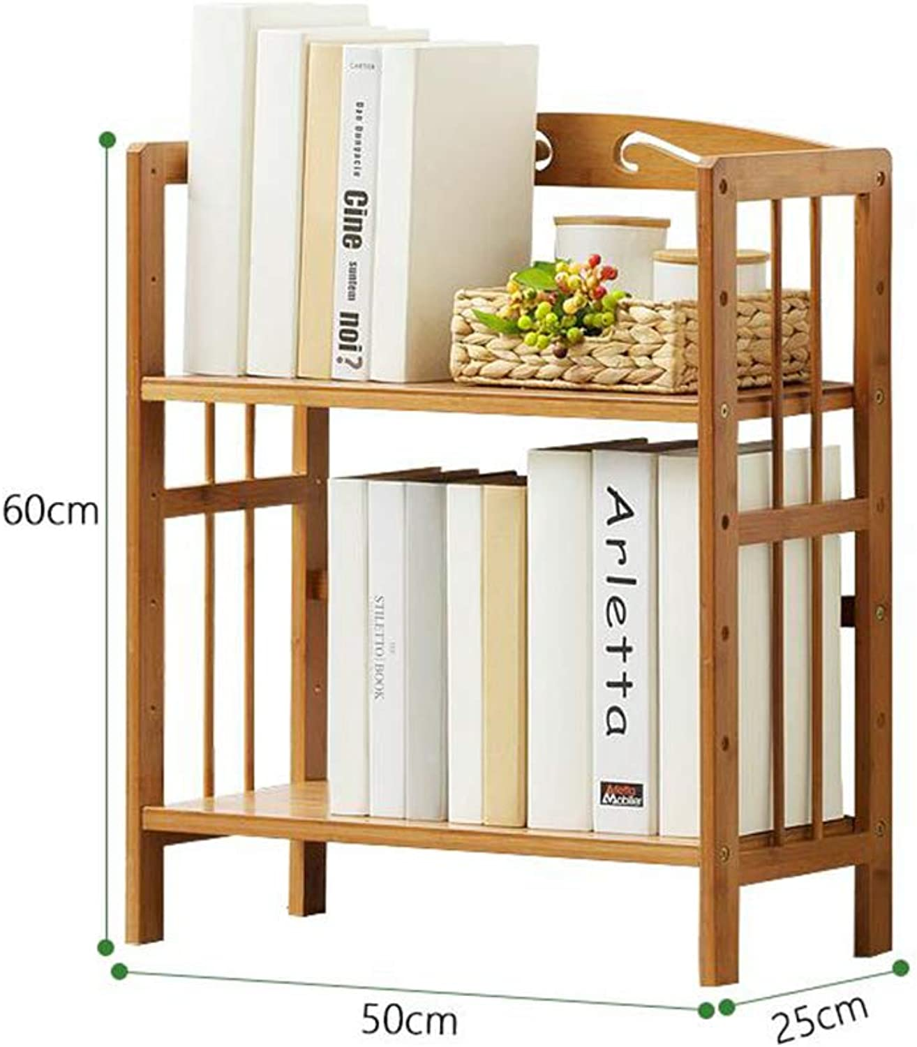 ZHPRZD Bookcase Bookcase Natural Bamboo Desk Office Home Neat Desktop Storage Storage Rack Display Stand (Size   50  25  60cm)