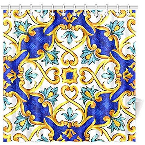 Auld-Shop Bad Vorhang Ornament Auf Italienischen Fliesen Majolika Cyan Wasserdicht Duschvorhang, 72 X 72 Zoll Duschvorhang Haken Enthalten