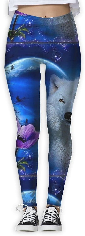 EWDVqqq Women Girl Yoga Pant Wolf Moon Fantasy High Waist Fitness Workout Leggings Pants