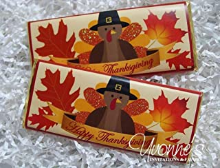 Thanksgiving Candy Bar Wrappers-Personalized Wrappers for Chocolate Bar Favors-Fall, Turkey Design-Thanksgiving Party, Friendsgiving, Office-School-Teacher Gift (Set of 12) Chocolate Not Included