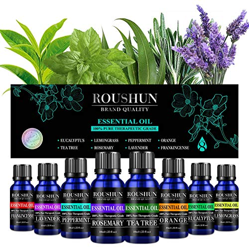 Essential Oils Set for Stress Relief, Relaxation & Sleep Pure Scented Oils for Diffuser, Humidifier, Massage, Aromatherapy, Skin & Hair Care(10ML x 8)