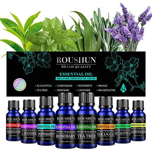 Ätherische Öle Set für Stressabbau, Entspannung & Schlaf Rein Essential Oil Duftende Öle für Diffusor, Luftbefeuchter, Massage, Aromatherapie, Haut- & Haarpflege (10ML x 8)