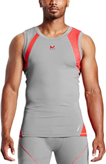 Mission X Wade Collection Men's Sleeveless Compression Shirt, Hex Orange/Grey, Large