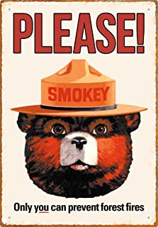 Aquarius Smokey Bear 8X11.5 Tin Sign