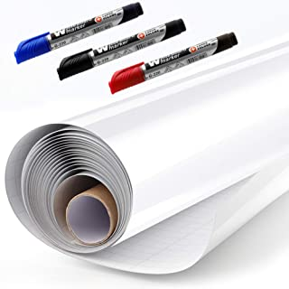 Whiteboard Sticker Paper Sheets, Easy Peel and Stick Dry Erase Contact Paper Upgrade 11 Ft Extra Wide, Self Adhesive Wall Paper Roll for Classroom, Planning, Office, Kid Painting, 3 Dry Erase Markers