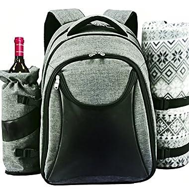 Scuddles Picnic Backpack Basket Wine Cooler - for 4 with Complete Tableware Set, Waterproof Fleece Picnic Blanket