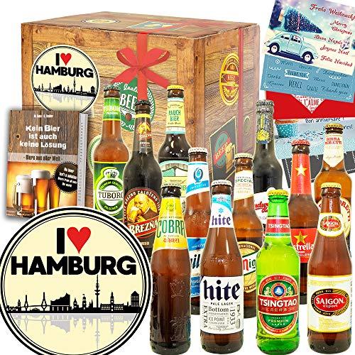 I love Hamburg + Geschenkbox Hamburg + Bier Paket Welt