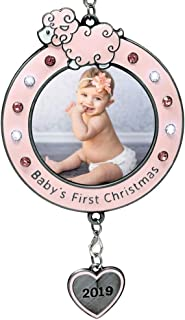 BANBERRY DESIGNS Baby Girl's First Christmas 2019 Dated Christmas - Picture Frame Ornament for Newborn Daughter - Keepsake Babys 1st Ornament Photo Holder - New Baby Gift