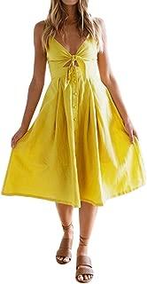 Off Shoulder Sleeveless Knee-Length Dress for Women 1/2 Button A-Line Beach Dress
