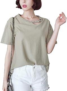 レディース Tシャツ コットン 半袖 ゆったり 100%綿 シンプル トップス インナー 全5色
