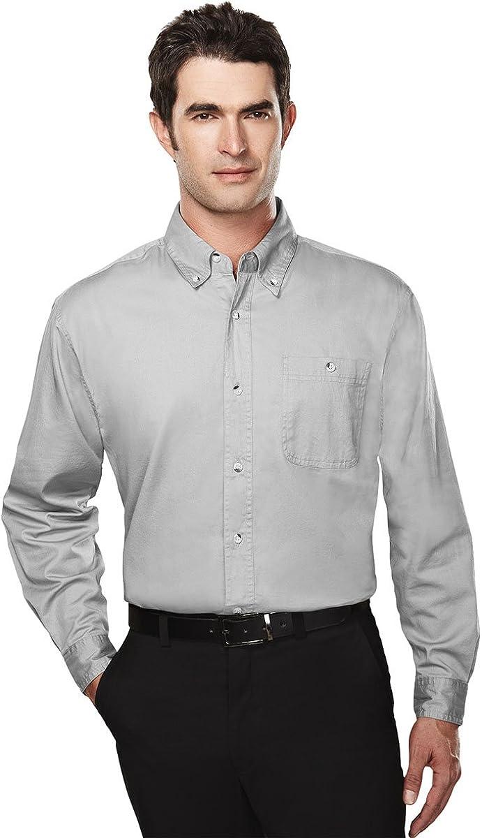 Tri-mountain Mens cotton long sleeve twill shirt. 810TM - KHAKI_2XLT