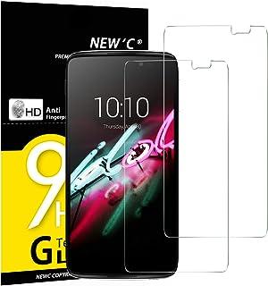 NEW'C 2-pack skärmskydd med Alcatel One Touch Idol 3 (5.5) – Härdat glas HD klar 9H hårdhet bubbelfritt