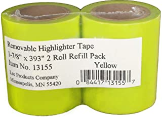 Lee Products Co. Removable Wide Highlighter Note Tape, 1-7/8 X 393 in, Yellow, Pack of 2 - 13155
