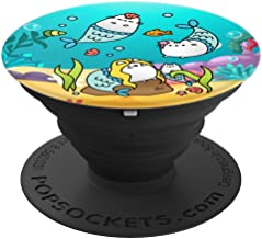 Mermaid Cat Family Cute Purrmaids - PopSockets Grip and Stand for Phones and Tablets